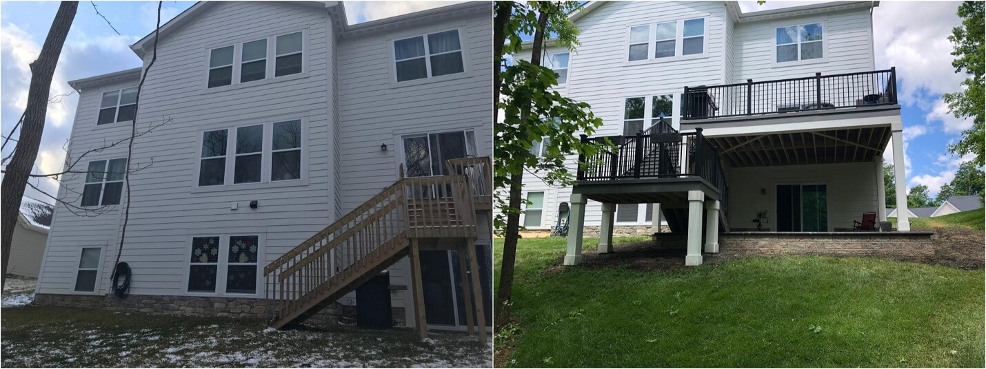 Before and after backyard deck