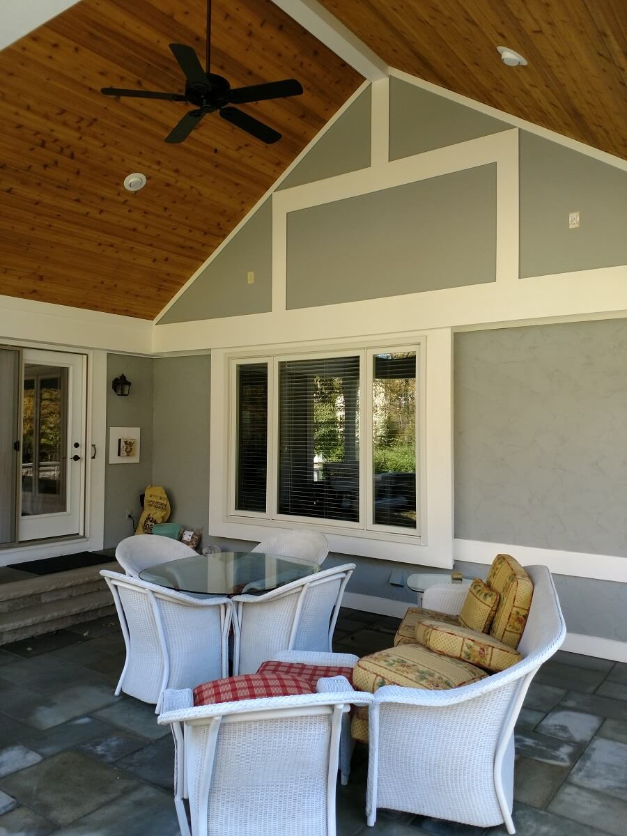 Cozy seating area on covered patio