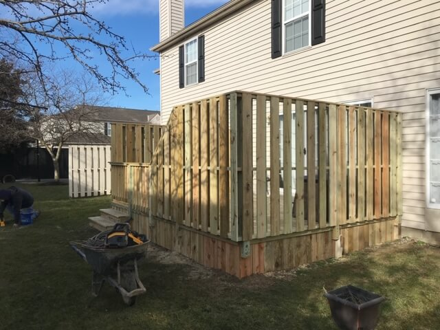 Custom wood deck with privacy wall
