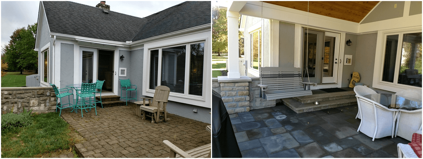 Before and after backyard patio