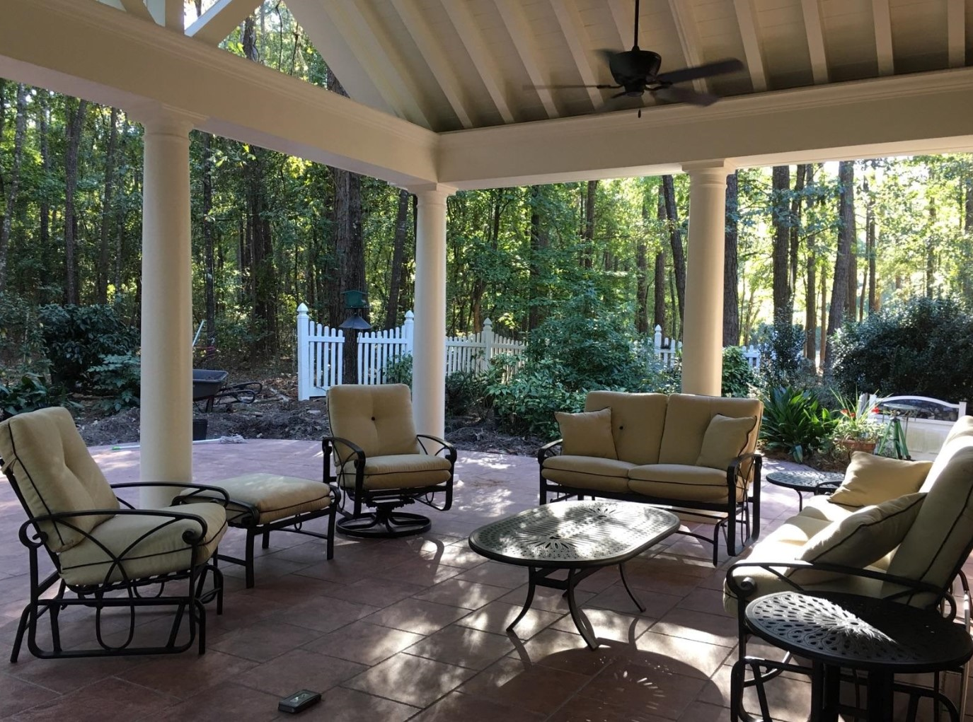 Seating area under covered patio