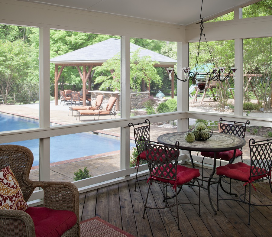 Custom screened porch with pool view