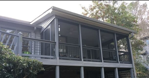 Custom elevated screened porch and deck