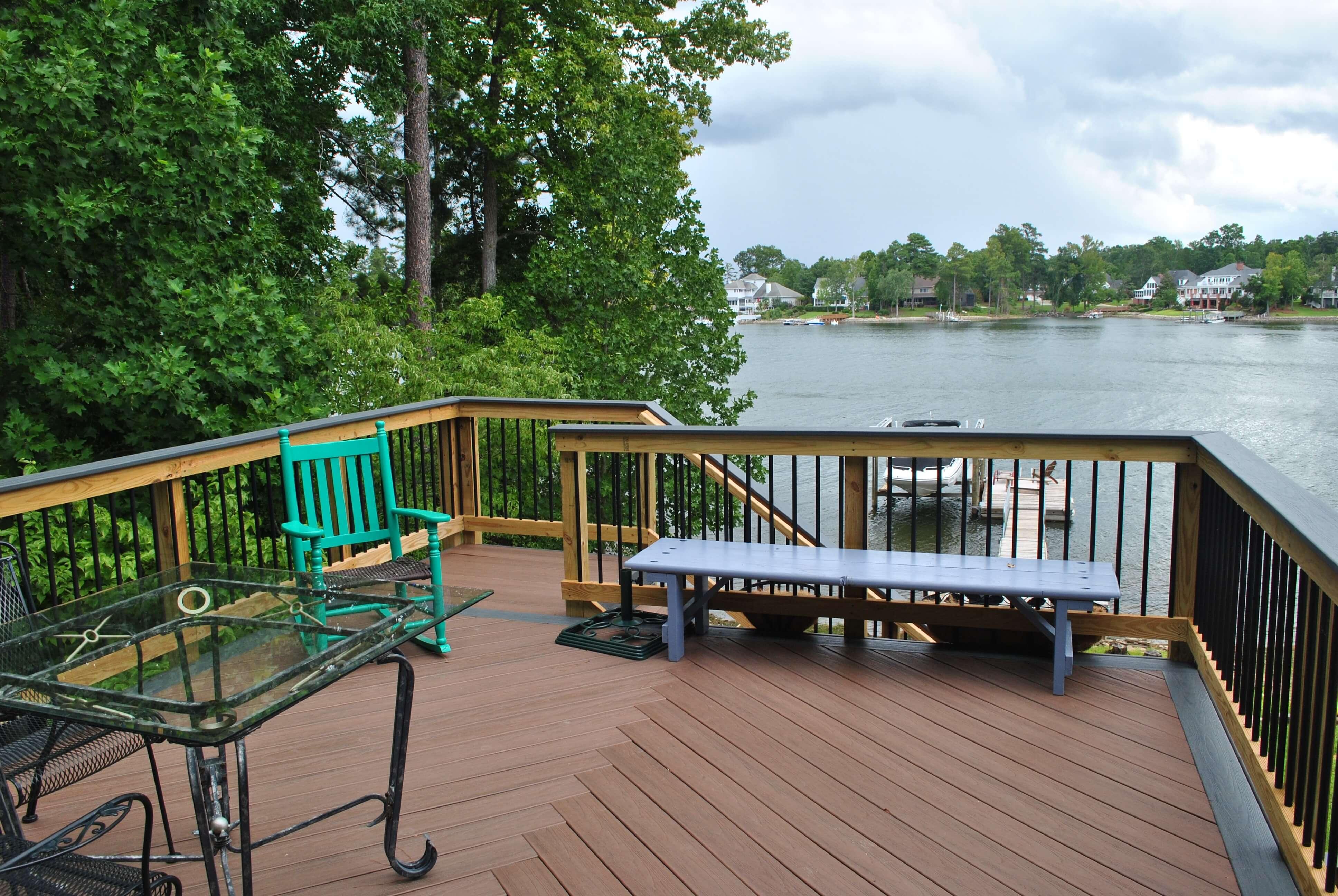 Custom wood deck overlooking water