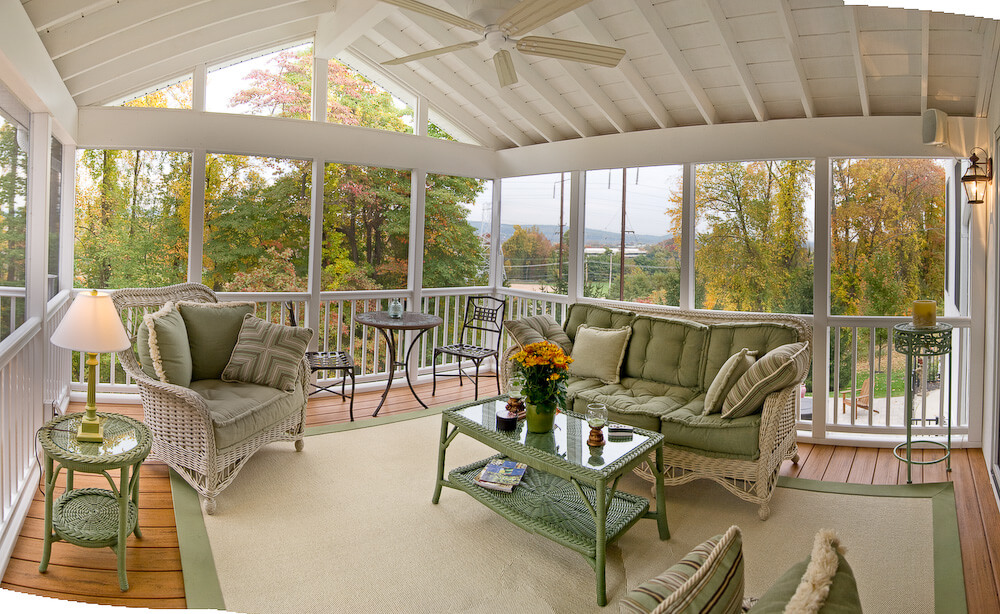 Cozy screened porch with backyard view