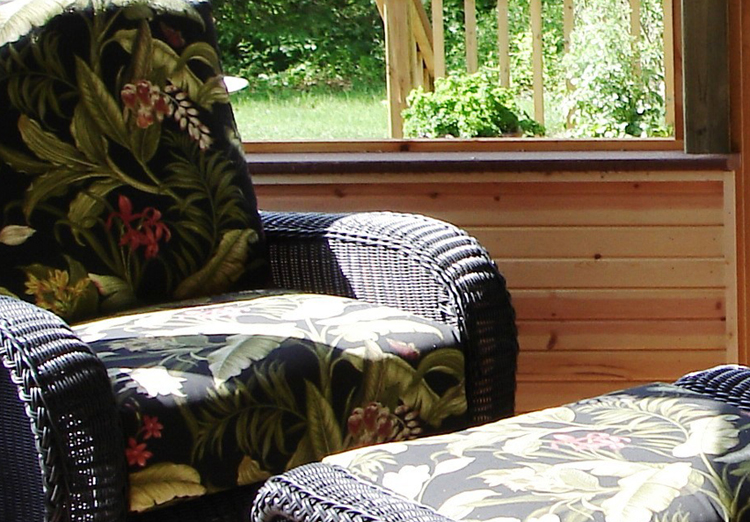 Cozy chair on porch