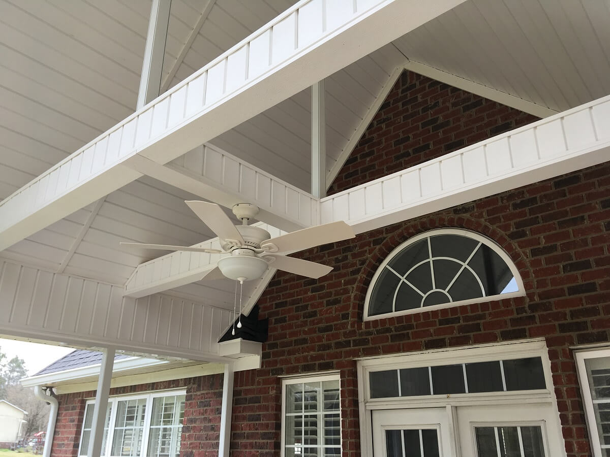Porch white ceiling with fan