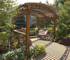 Arched Roof Freestanding Pergola- Sitting Area