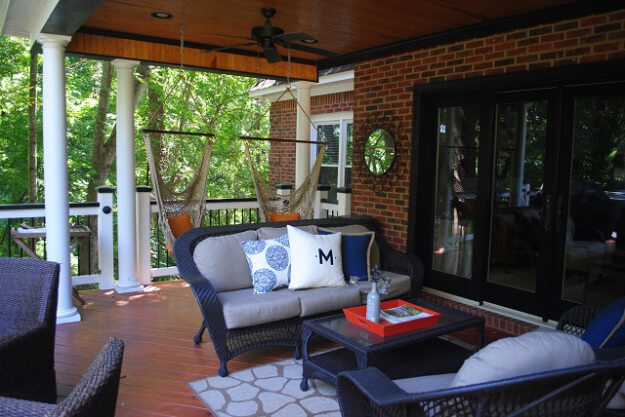 Custom deck and porch combination in Lexington.