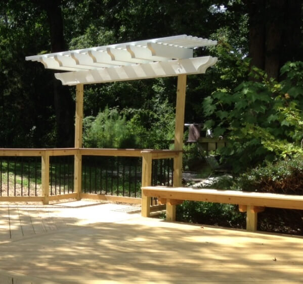 Details of one of two custom aluminum pergolas which grace this wooden deck in West Columbia SC