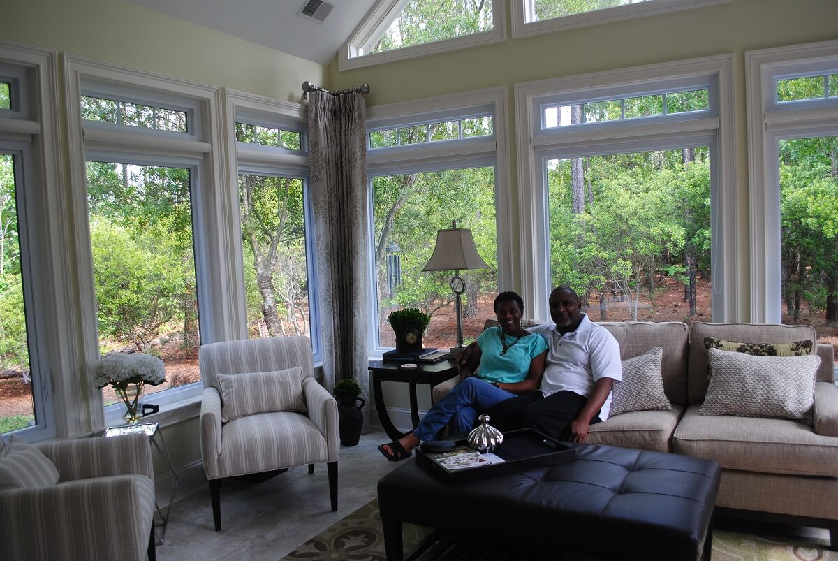 Happy couple in their new sunroom