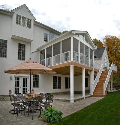 Screened Porch with Deck and Stone Patios