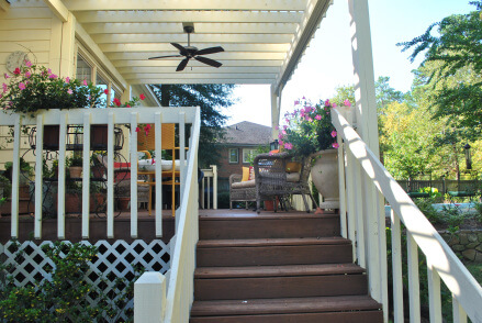 Shade and ambiance abounds with a custom pergola and landing addition in Irmo, SC.