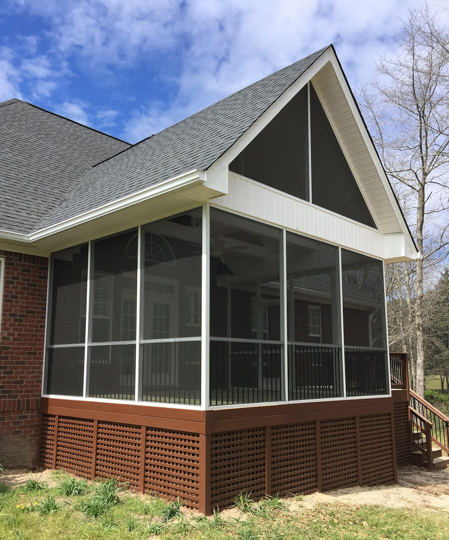 Exterior view of screened porch