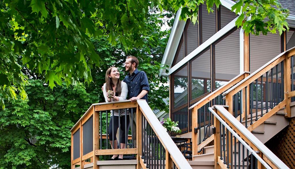 Couple enjoying deck view