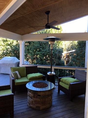 Charlotte open back porch with fire pit