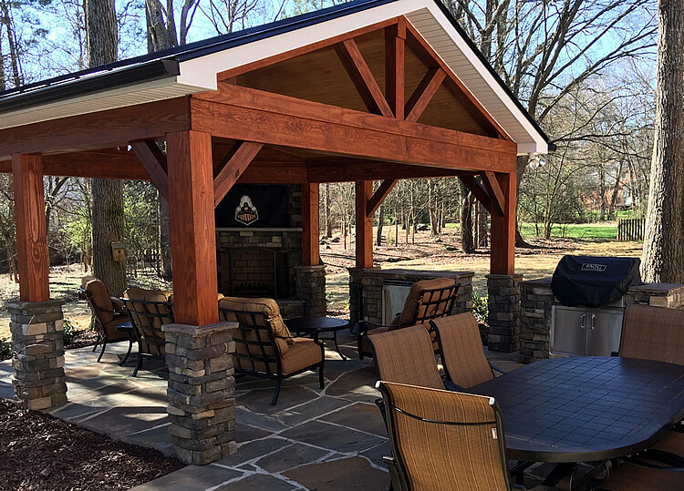 covered patio with outdoor TV