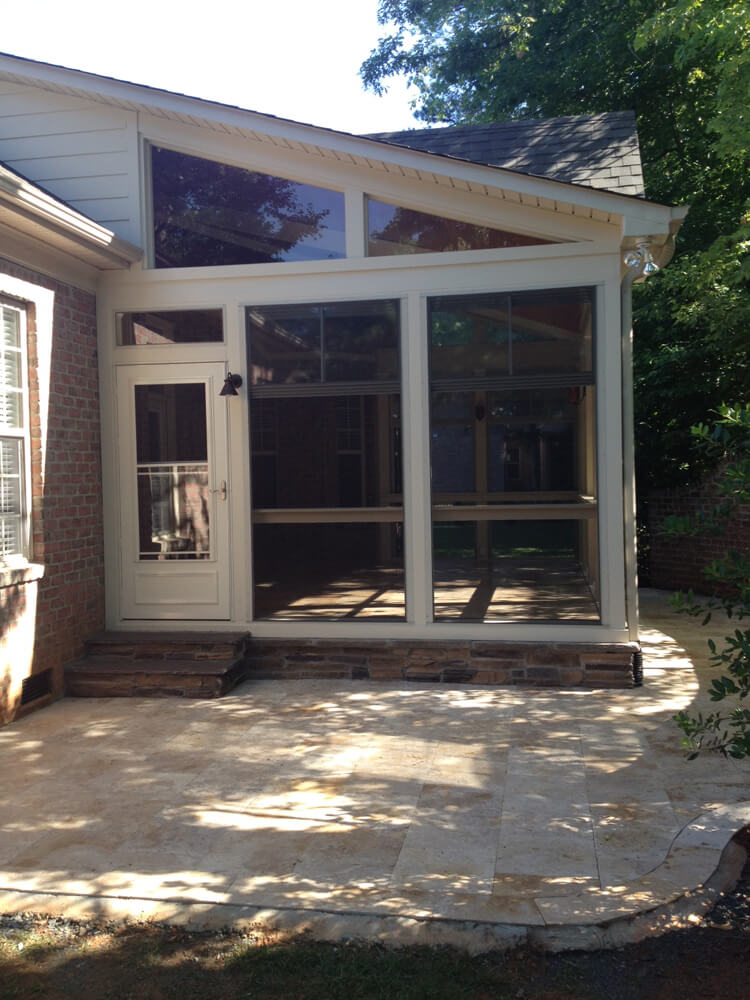 stone patio and screened porch