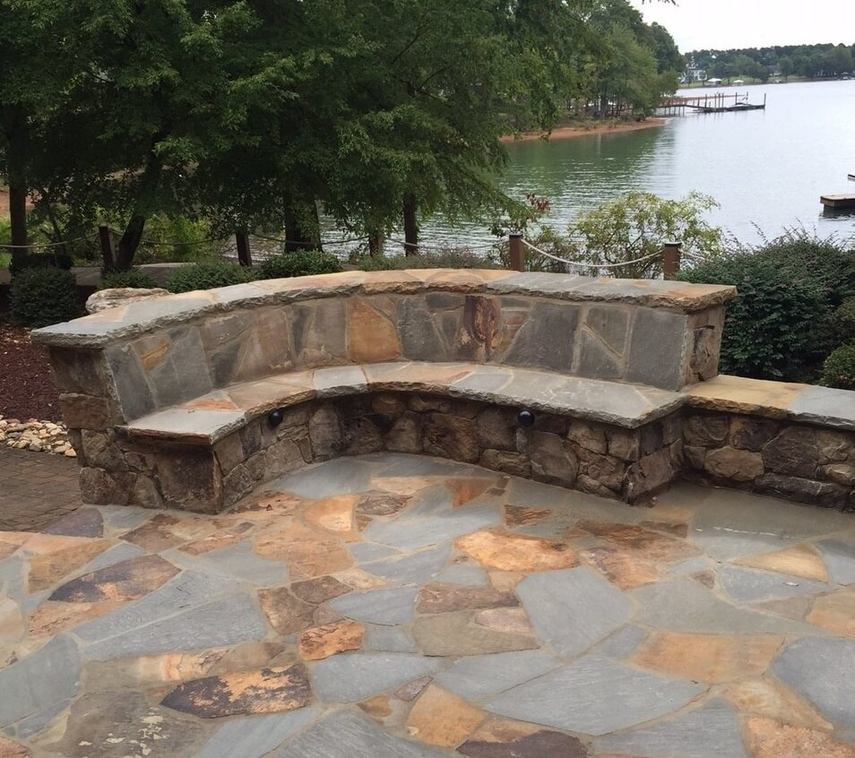 patio with seating wall