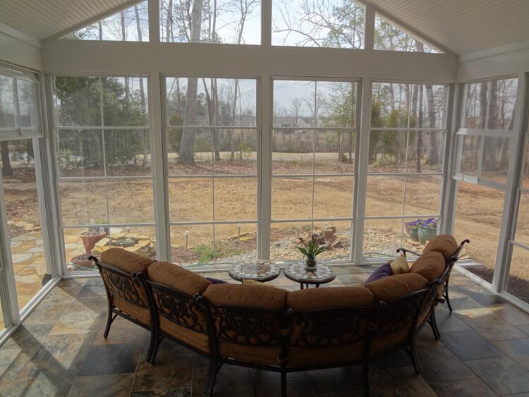 sunroom with wide windows