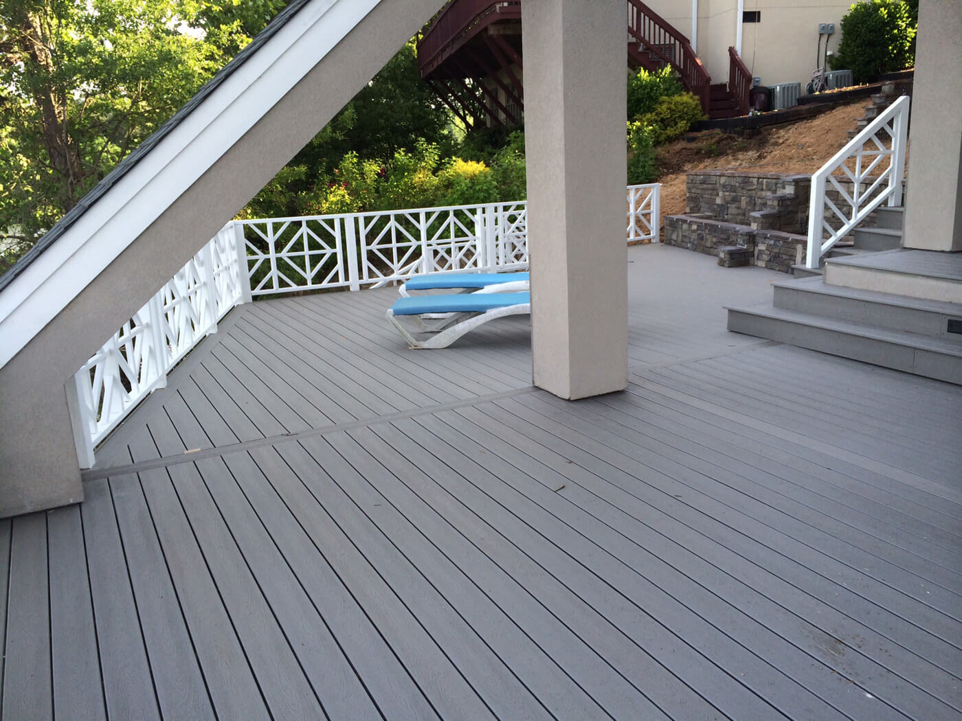 wood deck with lounge chairs