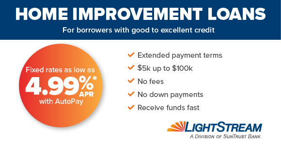 Home Improvement loans graphic, by LightStream a division of SunTrust Bank - Extended Payment Terms, $5k up to $100k, No Fees, No Down Payments, Receive Funds Fast, Fixed Rates as Low sa 4.99% APR with Autopay