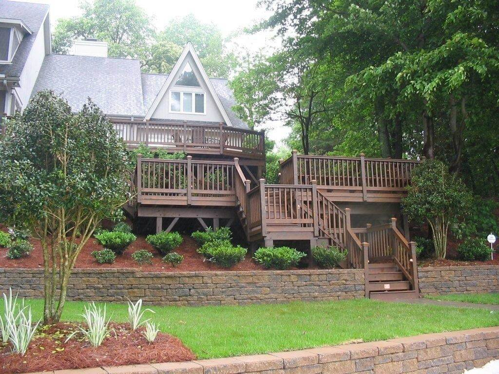 multi-level deck with plants
