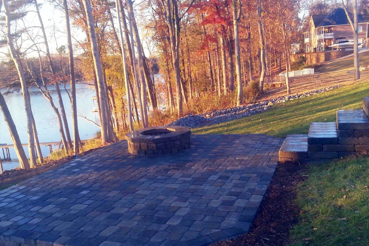lakeside hardscape and fire pit