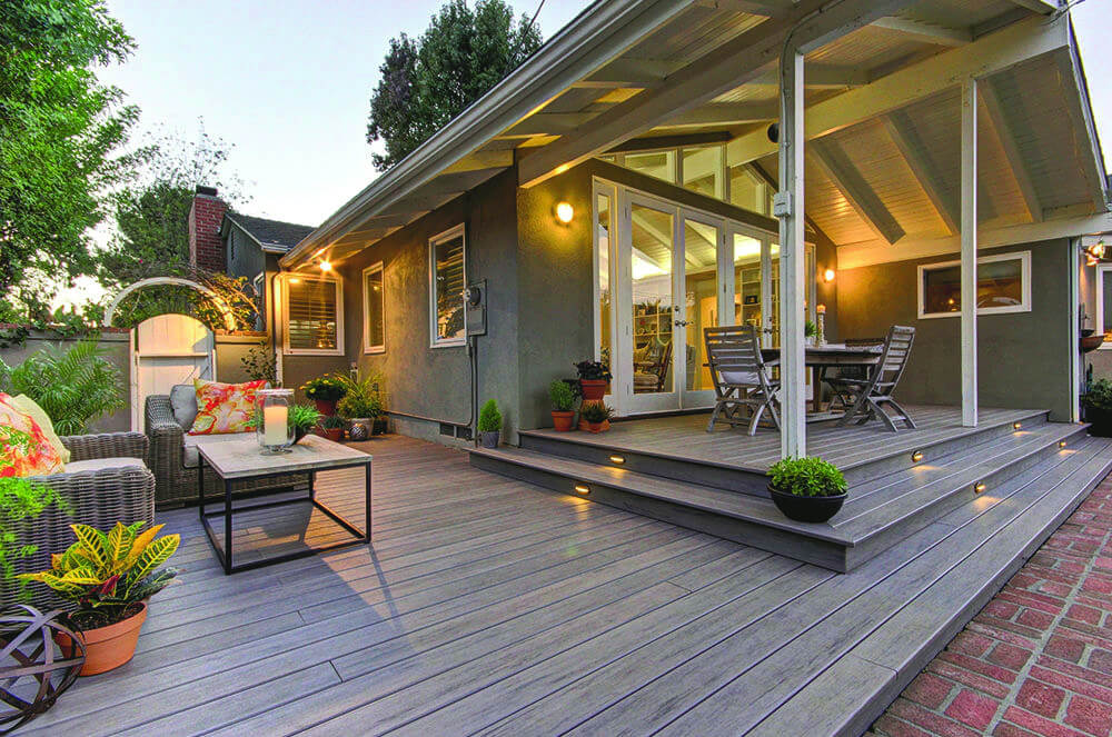 Deck with covering and outdoor furniture