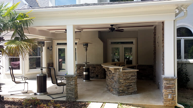 Custom porch with bar counter