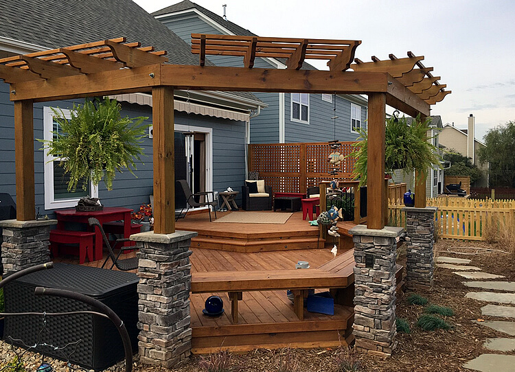 Fort Miss SC Wood Deck and Pergola by Archadeck of Charlotte