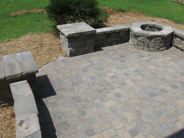 Custom patio with fire pit