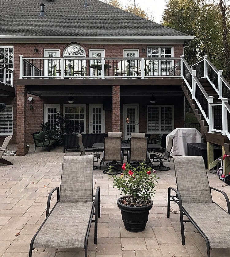 Custom deck and patio with lounge area