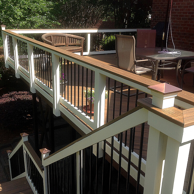 Seating area and deck railing