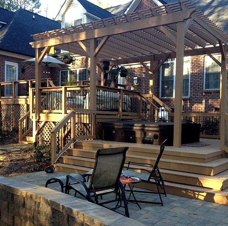 Custom deck patio and pergola with hot tub