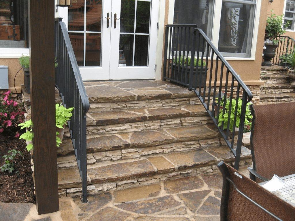 Custom patio steps with railing