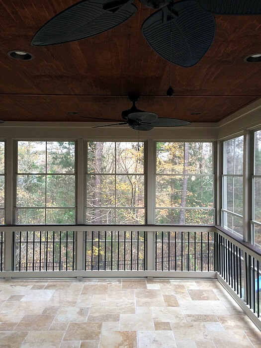 flexible entertaining space on a screened porch