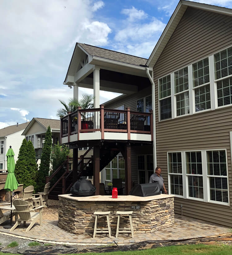 Multiple Outdoor Living Spaces Charlotte Open Porch and Patio