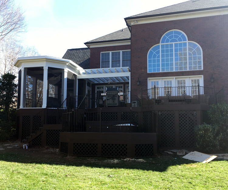 Multiple Outdoor Living Space Screened Porch Pergola Hot Tub Deck Firethorne Waxhaw NC