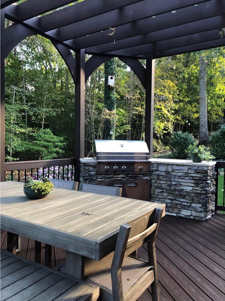 Custom outdoor kitchen trex deck and pergola