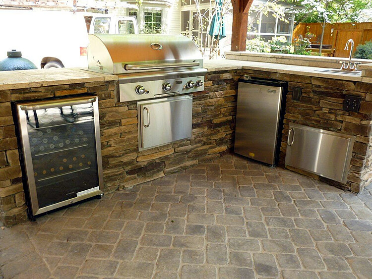 Custom outdoor kitchen with wine pairing bbq