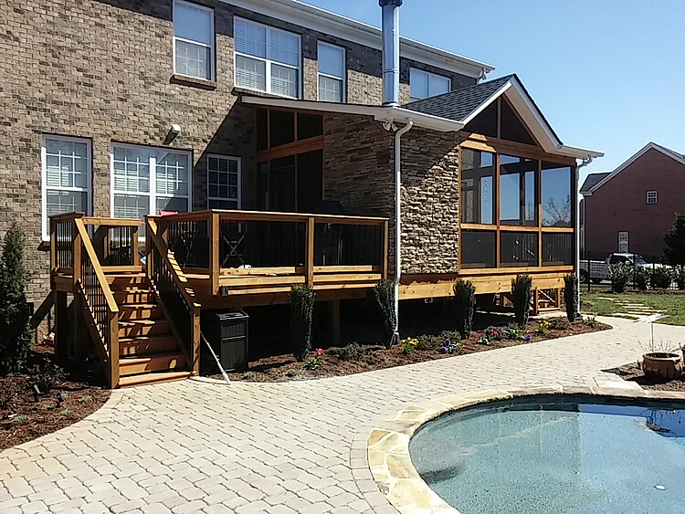Custom porch with wood deck