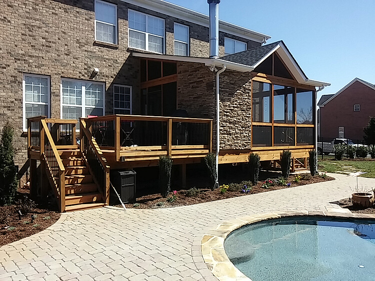 Custom screened porch deck and pool patio