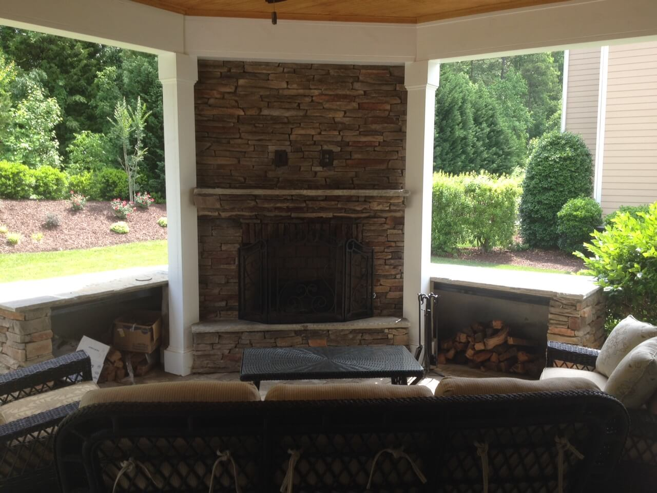 porch with fireplace