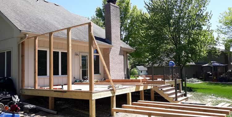 TimberTech deck build in progress