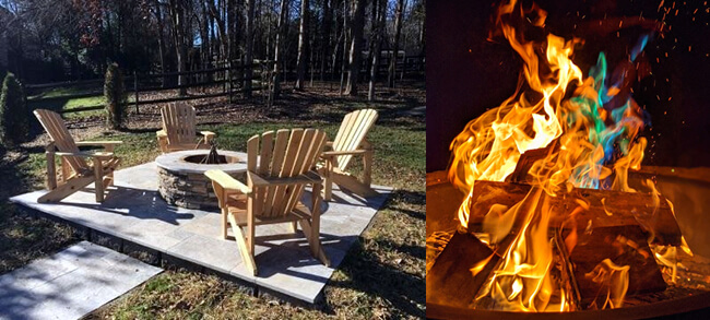 dual image: outdoor firepit and lit fire