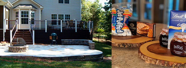 dual image of outdoor deck and firepit next to bags of marshmallows and candy