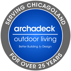 """Badge for """"Serving Chicagoland for over 25 years"""" with the Archadeck logo"""