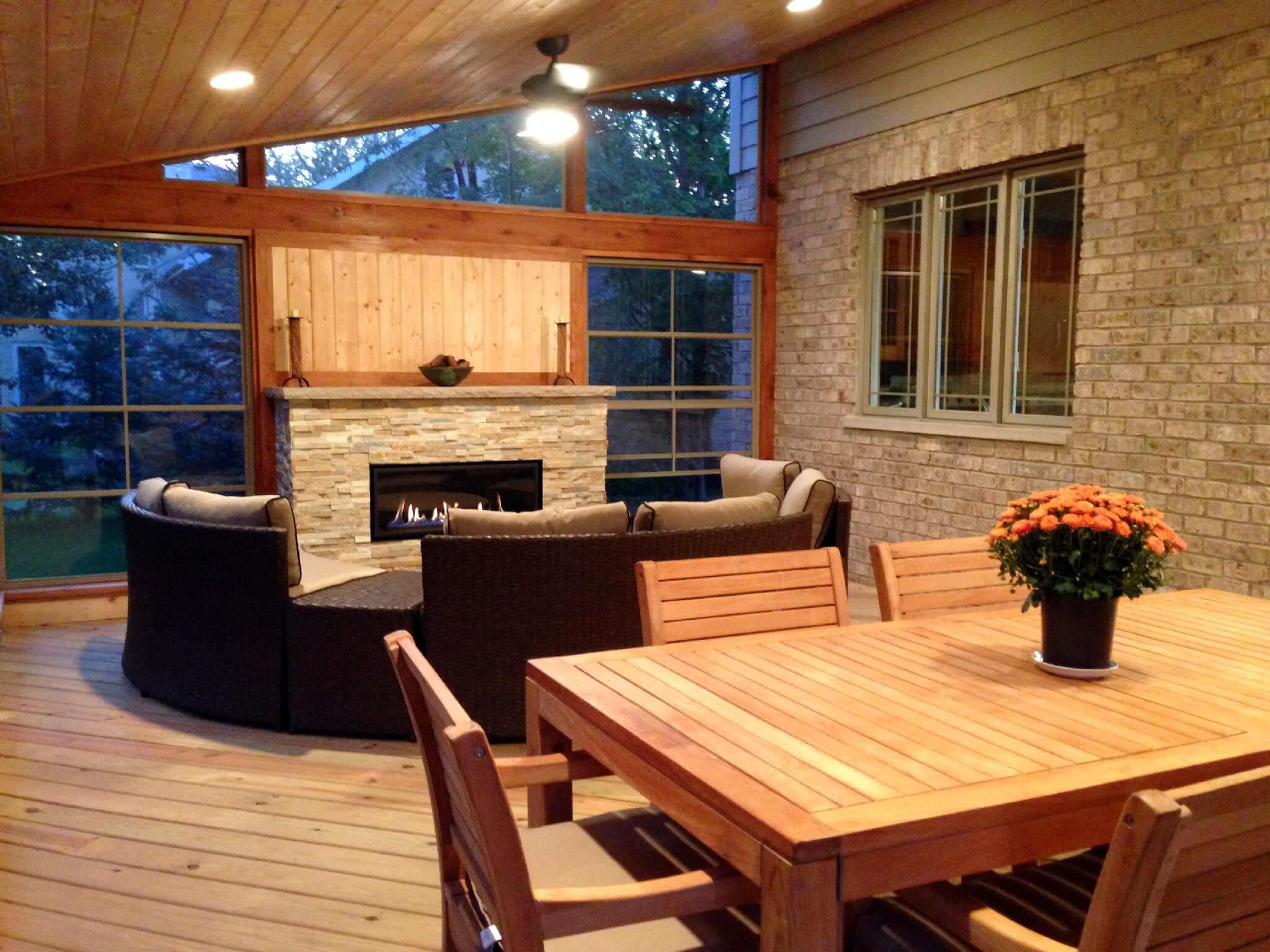 Custom cedar screen porch