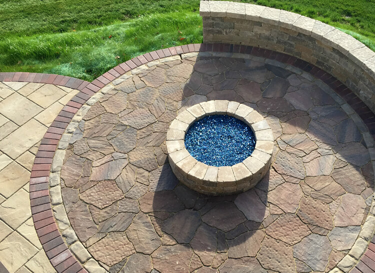 Custom fire pit with fire glass